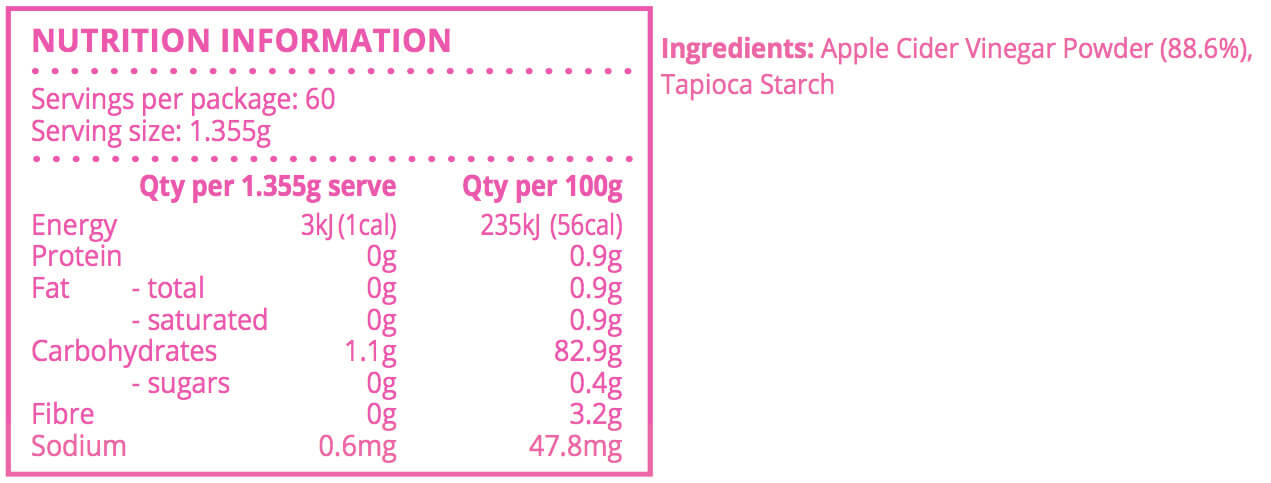 Nutritional Information Apple cider Vinegar